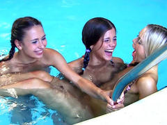18 y.o. lesbian gets group fuck in the pool