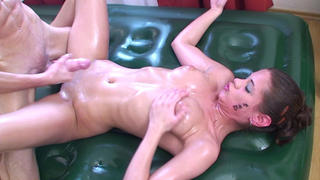 Caprice pleasing with body massage