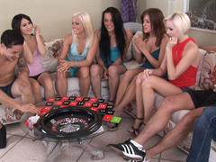6 college sluts sharing 2 meaty cocks