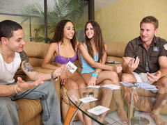 Teen girls playing strip poker
