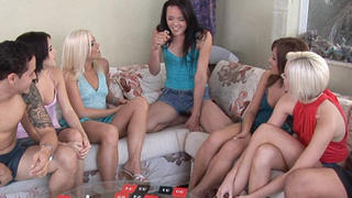 6 girls sucking & fucking 2 cocks