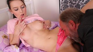 Katia lifts off her top and plays with her breasts as her pussy is licked and eaten out