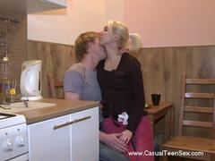 Friends fuck in kitchen