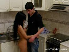 Twisted sex in kitchen