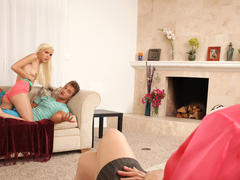 shaved blonde teen riding cock