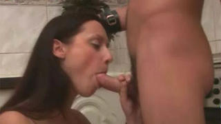 Teen couple fucks in kitchen