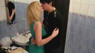 Teens fuck in a bath
