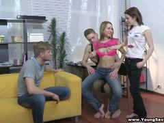 blond teen in sexy pants in foursome action on party